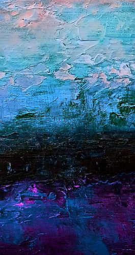 The Midnight Tide, Original abstract seascape  painting in blue and purple paints
