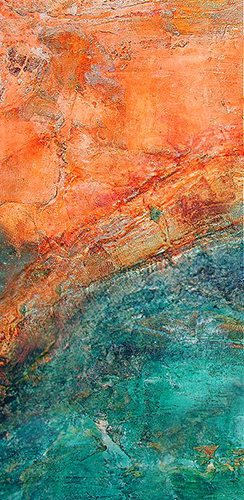 Drifting across the ocean, original orange and teal abstract painting on canvas 500