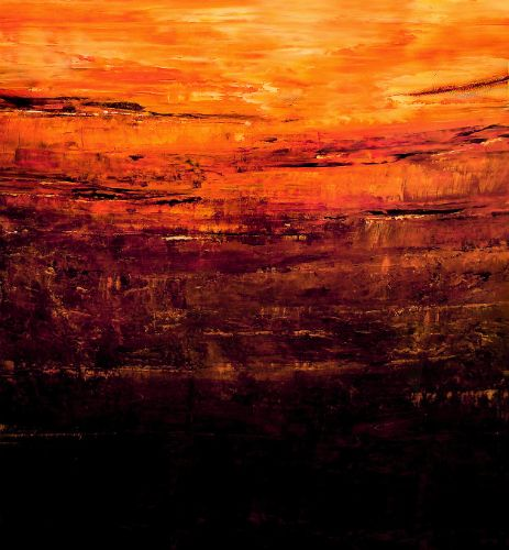 Beloved Sky, Orange and black abstract painting by David Munroe Art