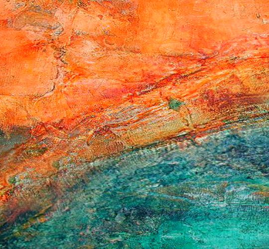 drifting across the ocean orange and blue abstract by David Munroe