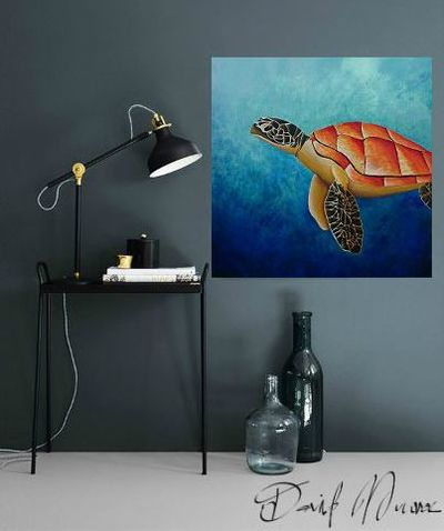 Blue and Orange Turtle painting in a grey room by David Munroe