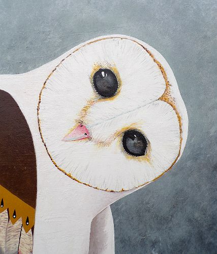 the cherokee owl large native american owl painting for sale
