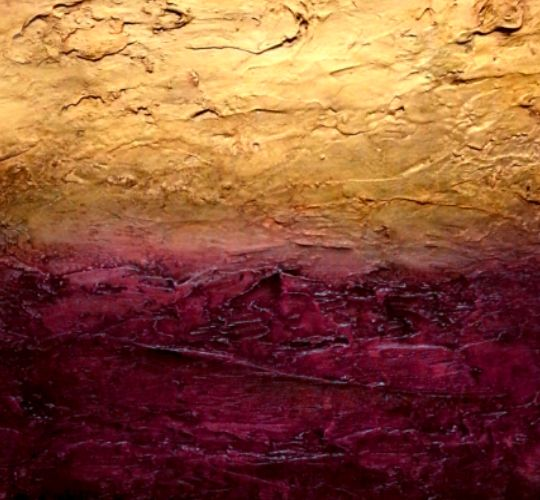 the gilded lilly gold and purple textured abstract by David Munroe