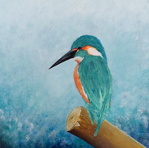 The Little King - Kingfisher painting on canvas by David Munroe Art